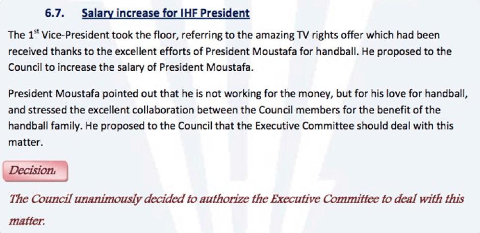 Protokoll IHF Council