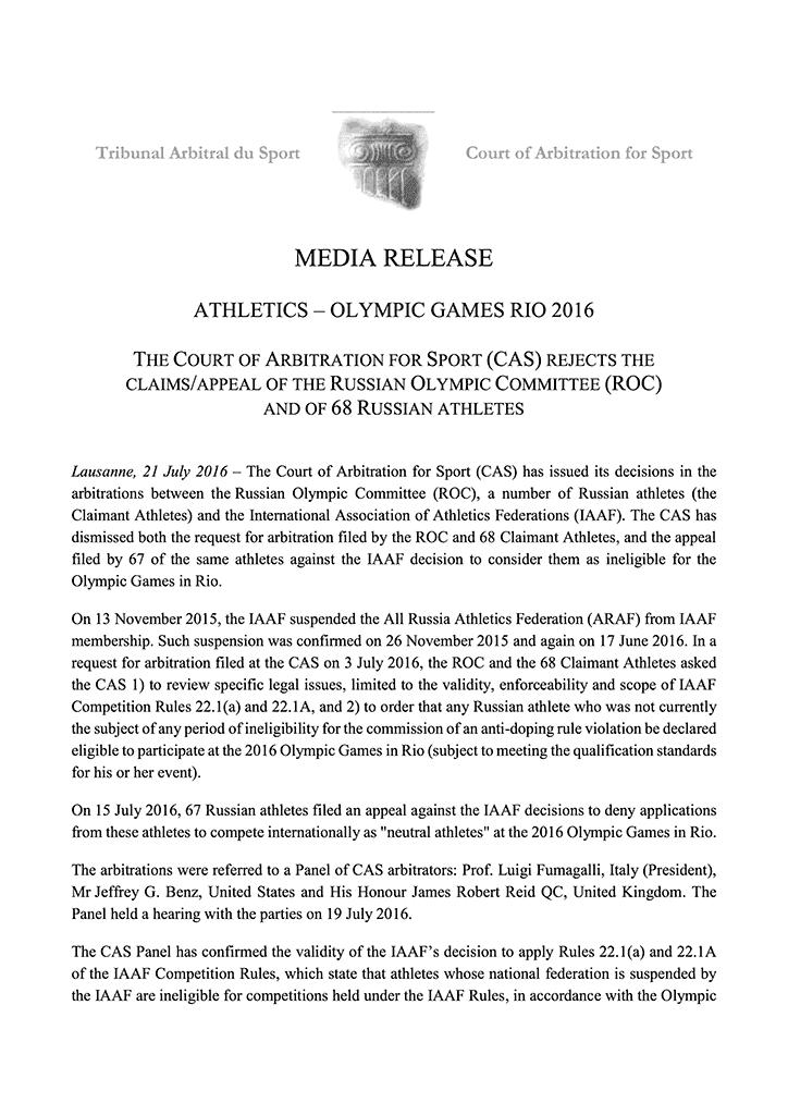 CAS-Entscheidung vom 21.07.2016 zum Ausschluss der russischen Leichtathleten von den Spielen in Rio
