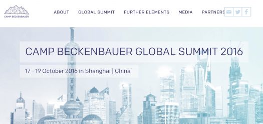 "Screenshot CB-Website: ""Camp Beckenbauer Global Summit 2016"" -- Shanghai, China"