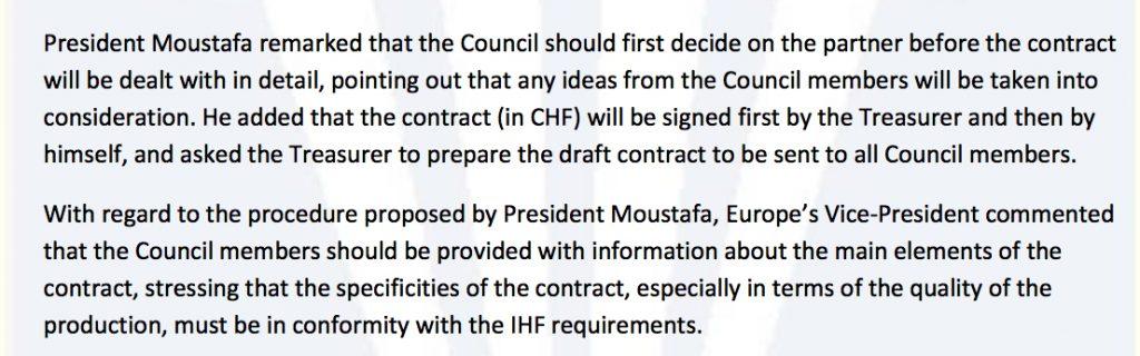 Protokoll der IHF-Councilsitzung vom Dezember 2013: Es musste schnell gehen, das märchenhafte Angebot aus Katar wurde akzeptiert, ohne Vertragsdetails ausgearbeitet zu haben, die bis heute Handballdeutschland beschäftigen.