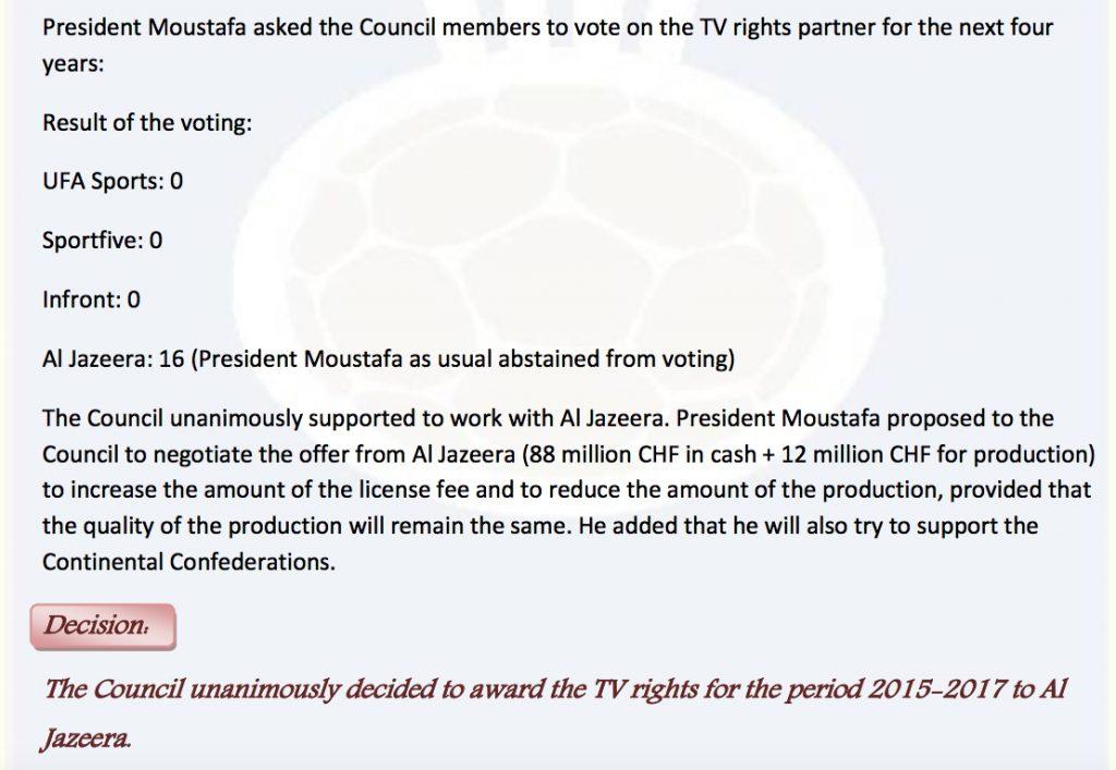 ... also wurde abgestimmt, die Bosse des IHF-Pharaos erhielten die TV-Rechte ...