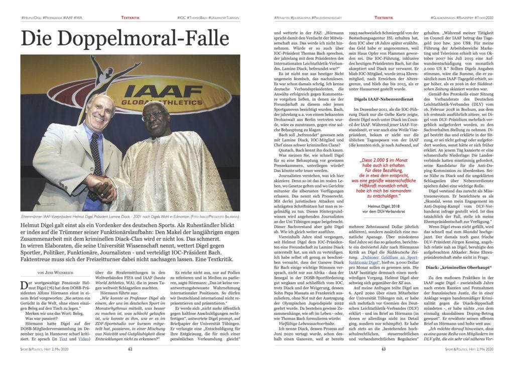 Ausschnitt aus dem Magazin SPORT & POLITICS, Heft 2, Mai/Juni 2020: die langjährigen IAAF-Funktionäre Helmut Digel und Lamine Diack beim Händedruck